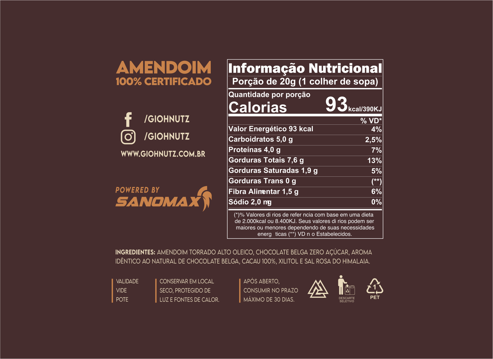 PASTA DE AMENDOIM CHOCOLATE BELGA GIOHNUTZ 500g