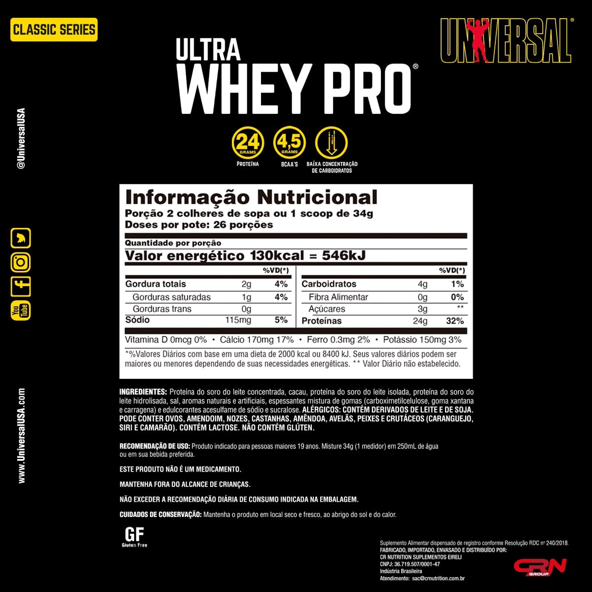 Whey Protein Ultra Whey Pro 900g - Universal Nutrition