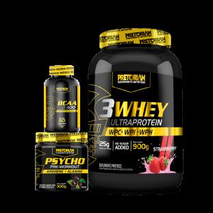 COMBO - 3W Ultra Protein 900g + BCAA 2400 60 Cáps + Psycho Pre Workout 300g Pretorian