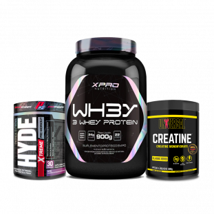 COMBO - Whey 3W 900g XPRO + Creatine 300g Universal + Hyde Extreme 222g Prosupps