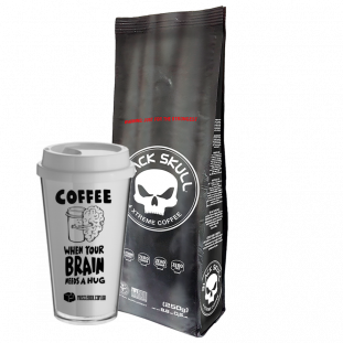 "COMBO - COPO DE CAFÉ ""When your brain needs a hug"" BUCKS MUSCLEBOX + CAFÉ 4XTREME COFFEE BLACKSKULL 250g"