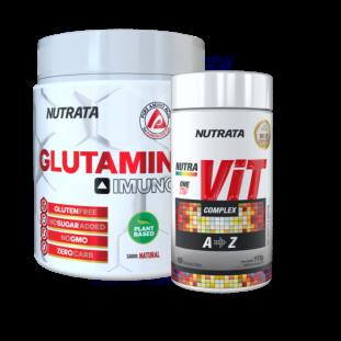 COMBO IMUNIDADE - GLUTAMIN UP NUTRATA 300g + MULTIVITAMÍNICO NUTRA VIT COMPLEX NUTRATA 60 tabs