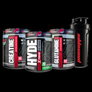 COMBO - Pré Treino Hyde Extreme 30 Doses + Glutamina 100% Pure 300g + Creatina 100% Pure 200g + Coqueteleira 600ml - Prosupps