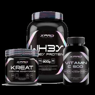 COMBO - Whey Protein 3W Hidrolisado Isolado Concentrado 900G + Creatina Kreat Monohidratada 300g + Vitamina C 500Mg 60 Caps - XPRO Nutrition