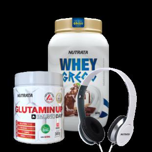 COMPRE E GANHE - WHEY GREGO NUTRATA 900g + GLUTAMIN UP NUTRATA 300g + HEADPHONE GRÁTIS